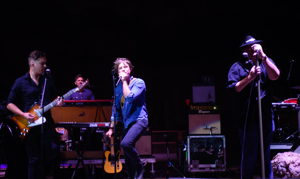 Description of . Isaac Hanson, Taylor Hanson, and John Popper at Red Rocks, July 4, 2015. Photo by Candace Horgan, heyreverb.com.
