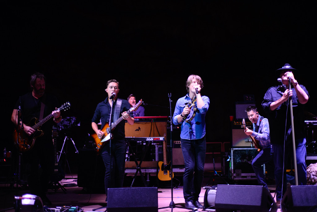 Description of . Blues Traveler with Hanson at Red Rocks, July 4, 2015. Photo by Candace Horgan, heyreverb.com.