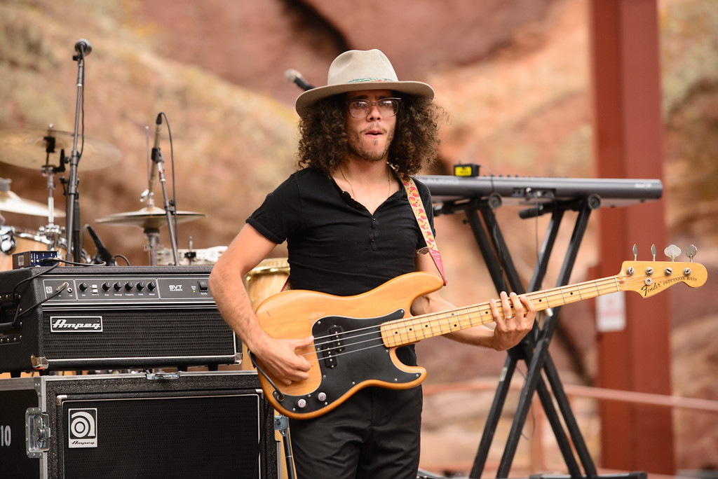 Description of . Bassist Andrew Perusi of Hanson at Red Rocks, July 4, 2015. Photo by Candace Horgan, heyreverb.com.