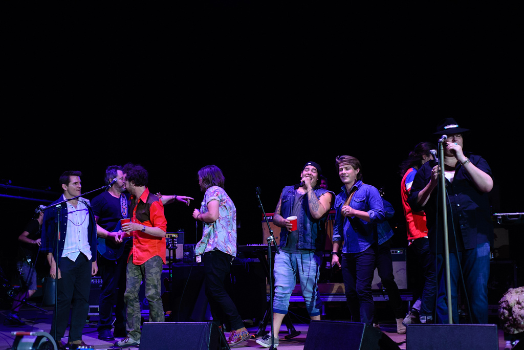Description of . Blues Traveler and guests on the encore at Red Rocks, July 4, 2015. Photo by Candace Horgan, heyreverb.com.