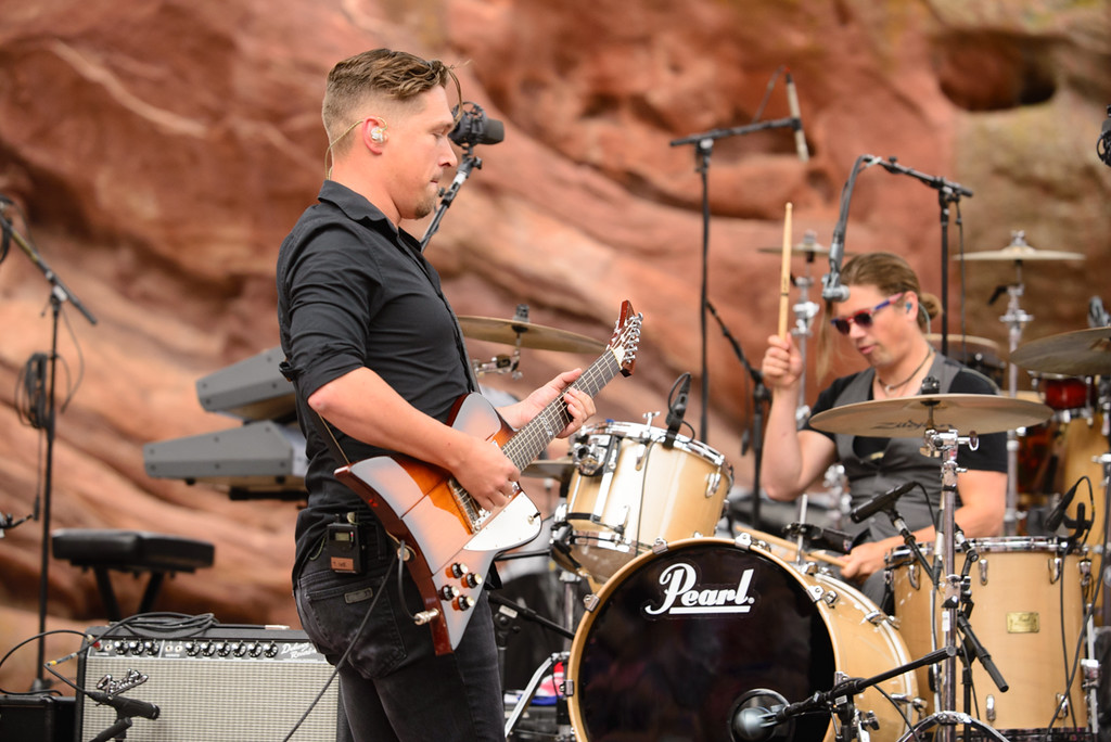 Description of . Guitarist Isaac Hanson at Red Rocks, July 4, 2015. Photo by Candace Horgan, heyreverb.com.
